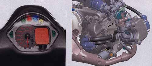 Новейшая версия двигателя Piaggio Quasar оснащена впрыском топлива. Приборная панель - сгусток современных технологий. Тахометр на скутере увидишь нечасто.